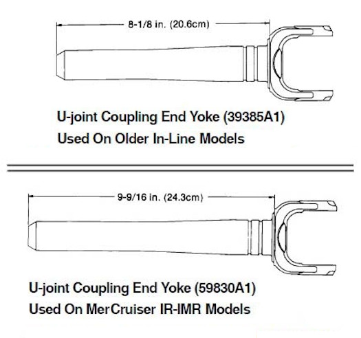 MerCruiser sterdrive yoke dimensions